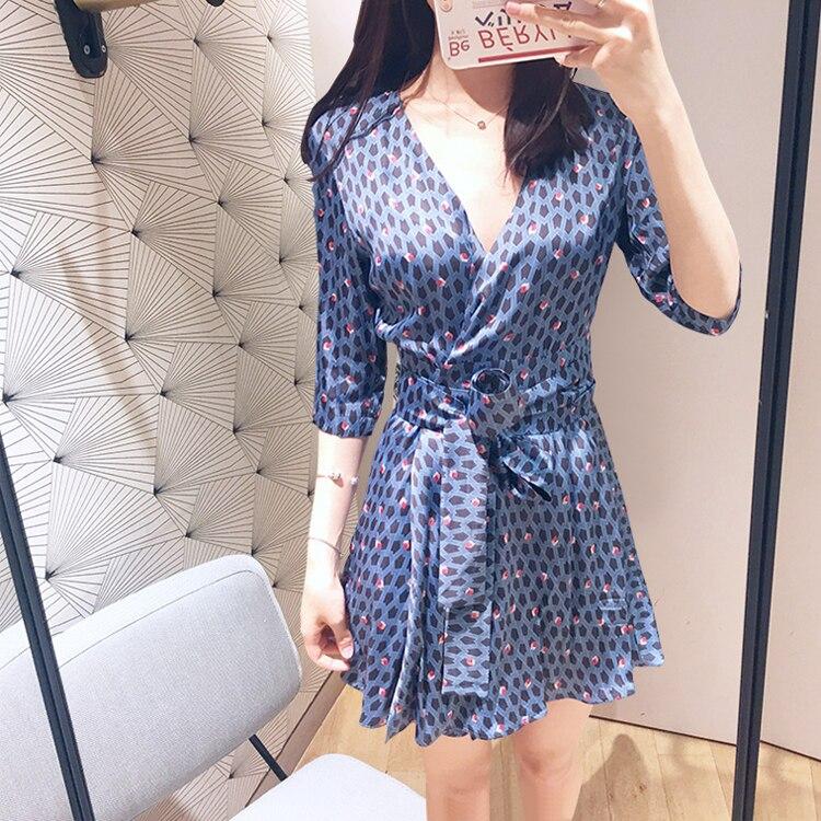 Women Blue Flower Print V Neck Wrap Dress Half Sleeve Mini Dress With Belt 1