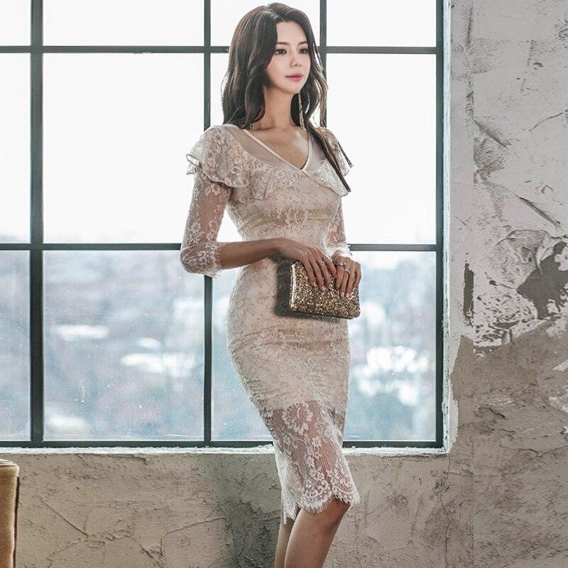 WAVSIYIER women half sleeve dress female korean sexy party club lace dresses high waist pencil dress midi runway elegant vestido 2