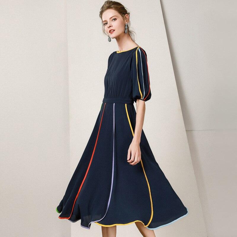19 New Women Midi Dress O-Neck Half Sleeve A-line Dress Elegant Chiffon Dress Vestidos Femme Vintage Dress Fashion Streetwear 3
