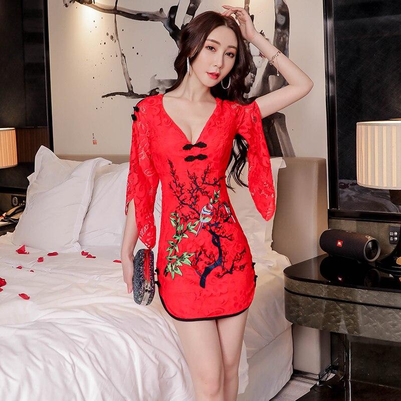 19 New Sexy Slim Modified Cheongsam Dress Chinese Style Nightclub Women's V-neck Half Sleeve Japanese Women Harajuku Dress 2