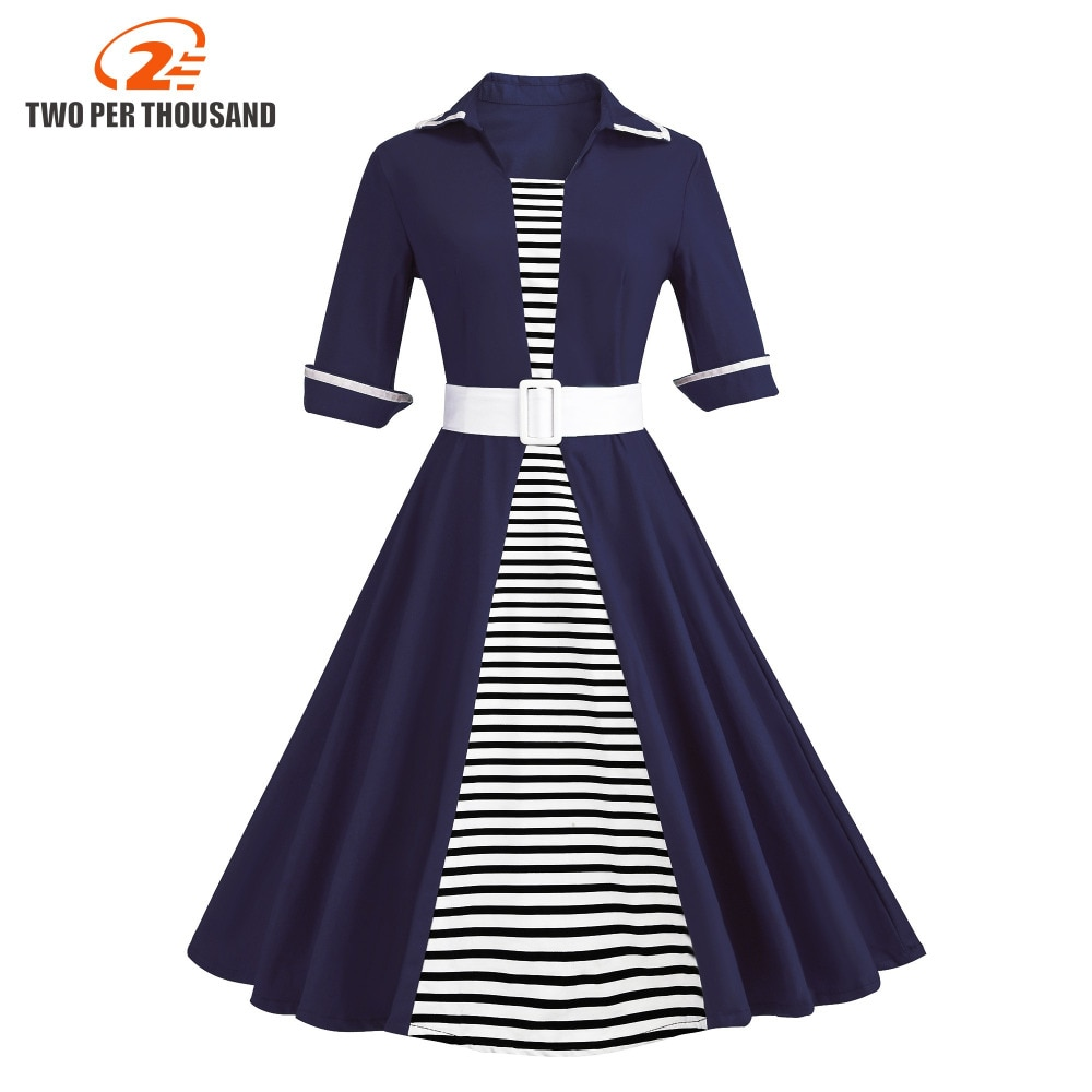 Autumn 4XL Plus Size 3XL Stripe Print Half Sleeves Lapel Vintage Dress 50's Audrey Retro Dresses Pattern Work Party Vestidos 1