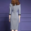 Plus size S-4XL!18 spring Pencil Dress half Sleeve Office Plus size S-4XL!18 spring Pencil Dress half Sleeve Office lady Dress Women V- Neck Irregular embroidery Work Dress