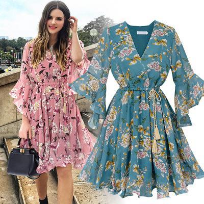 Chiffon High Elastic Waist Party Dress Bow A-line Women Butterfly Sleeve Flower Print Floral Boho Dress Female Vestido Plus Size 2