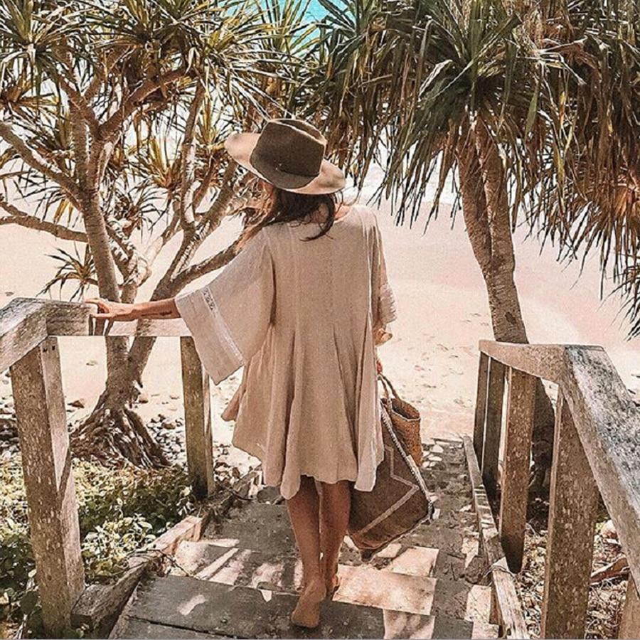 TEELYNN cotton & linen tunic mini dresses boho solid dress o-neck loose short summer dresses beach Gypsy dress women vestidos 3