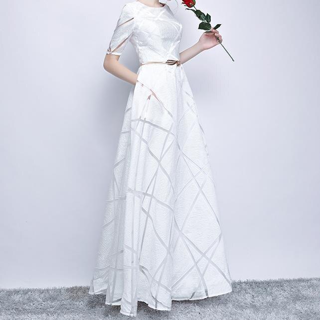Spring High Quality Stylish Dress Half Sleeve Round Elegant Dress Ball Gown Long Party Dress 1