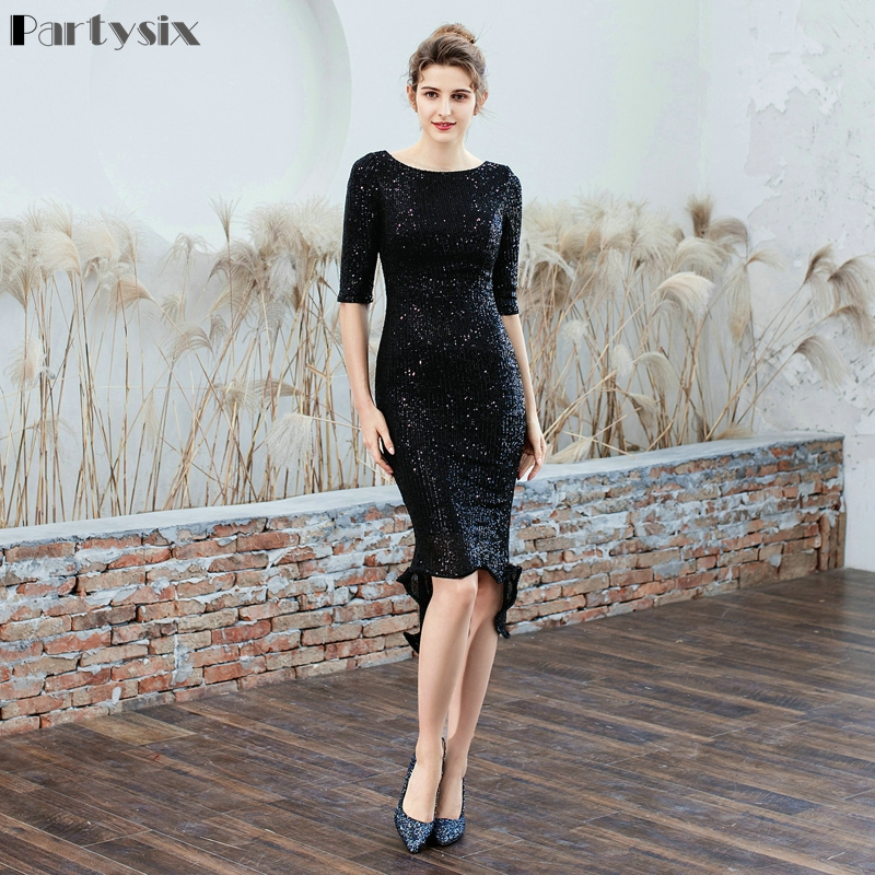 Partysix Women Half Sleeve Sequins Dress Elegant Party Dress With Belt 3