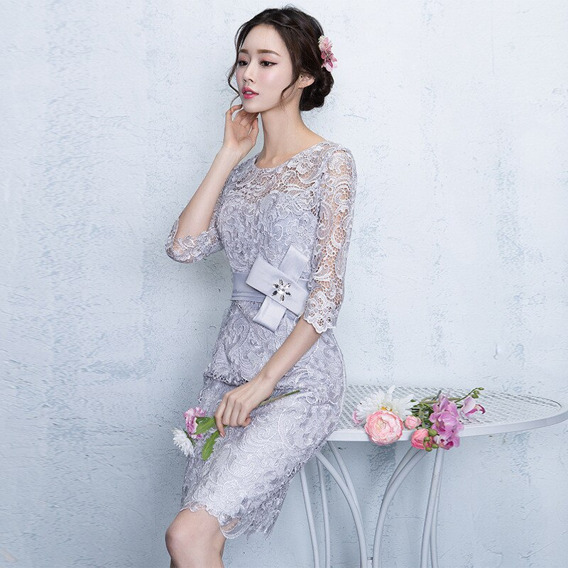 Lace Party Dresses New Sheath Column Jewel Knee-length Formal Dress Half Sleeves Cocktail Date Dress Elegant Vestidos 3