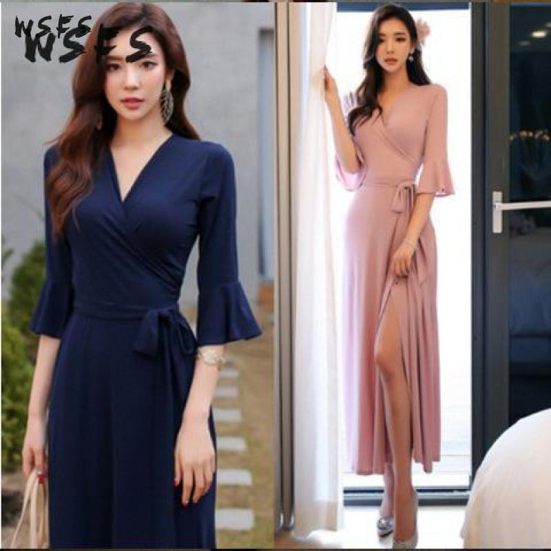 Summer Pink Dresses Blue Vneck Half Flare Sleeve Womens Dress Ruffles Vintage 18 Sexy Patry Office Long Loose Midi Sundress 3