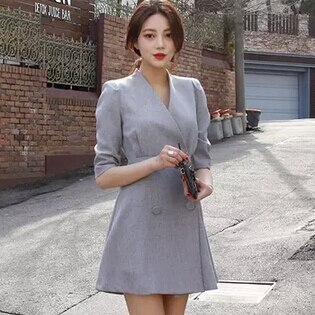spring women work OL temperament dress simple double-breasted V-neck dress solid color half sleeve dress 2