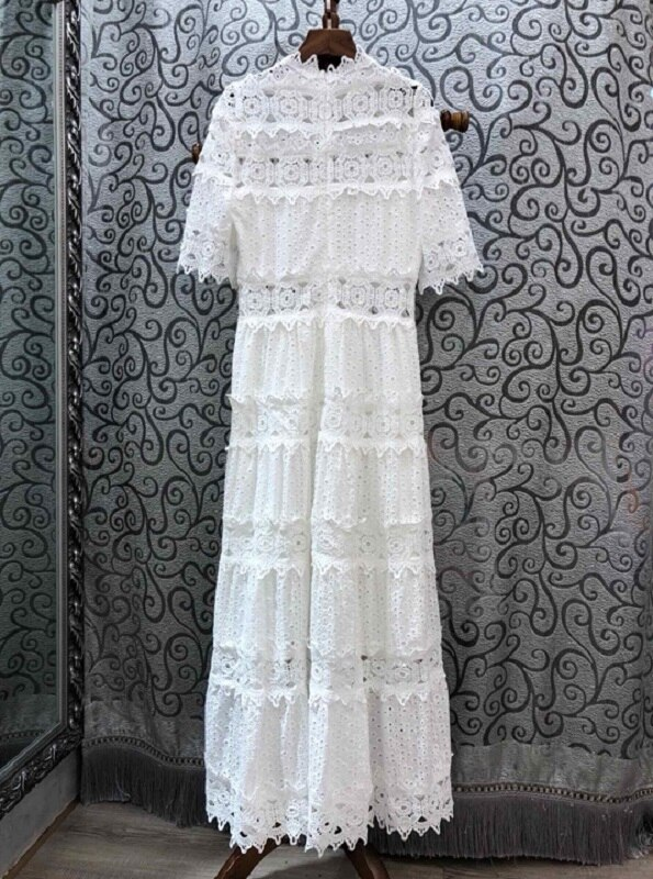 19 Autumn Fashion Long Dress High Quality Women Ruffled Collar Hollow Out Embroidery Half Sleeve Maxi Long Cotton Dress White 2