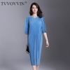 Autumn And Winter Pleats Loose O-neck Half Sleeve Double Pockets Elastic Dress Female's Personality Cloth Vestido D052