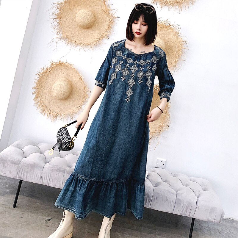 Women's Denim Dress 19 Vintage Big Loose Dress Female Ruffles Hem Woman Dresses O-Neck Half Sleeve A-line Embroidery dress 3