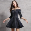 Women Denim Dress Sexy Off-Shoulder Women's Clothing Half Sleeve Denim Jeans Dress Vestido de Festa Vintage Sexy Wear