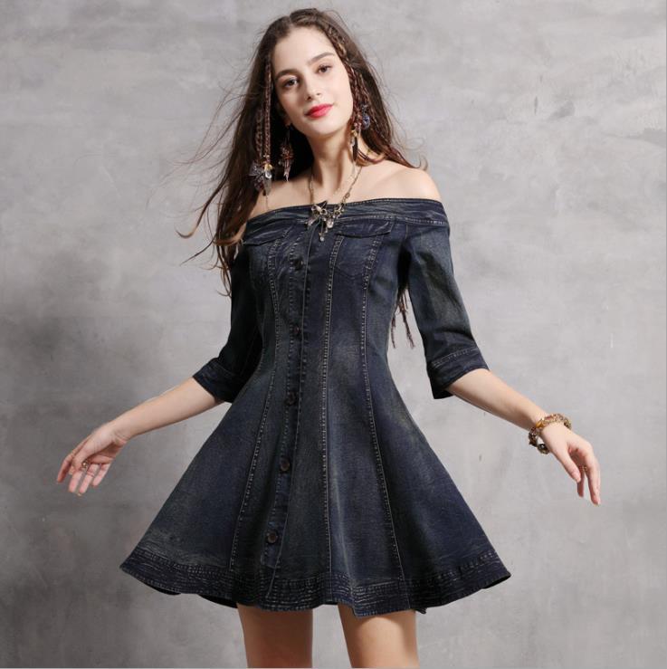 Women Denim Dress Sexy Off-Shoulder Women's Clothing Half Sleeve Denim Jeans Dress Vestido de Festa Vintage Sexy Wear