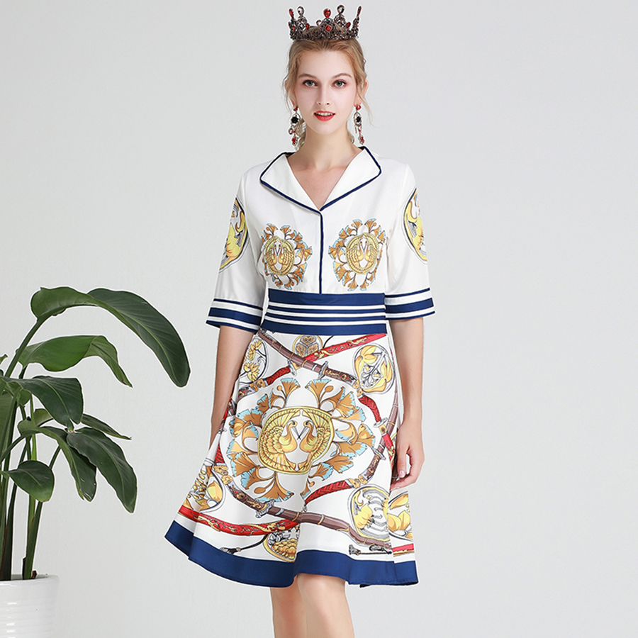 AELESEEN Vintage Knee-Length Dresses Women Summer 19 Casual Wearing V-neck Canary Sword Printed Half Sleeve A-Line Midi Dress 3