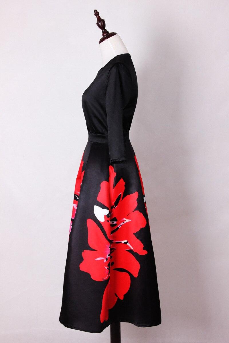 Mifairy 17 Black Half Sleeves Flowers Print Long Women Dress Plus Size Mid-calf Celebrity Style Dress 929 2