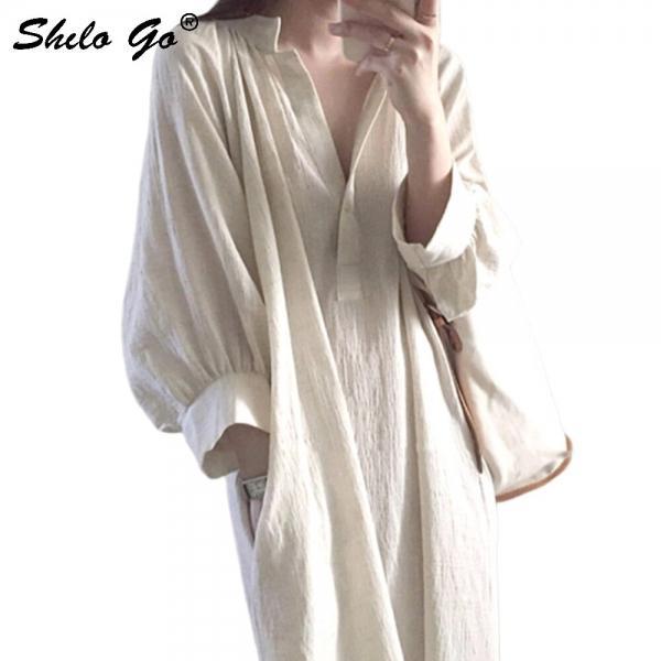 Beige Lantern Sleeve Tunic V Neck Shirt Dress Women Side Pocket Half Sleeve Summer Dress Casual Slit Hem Long Dresses Female