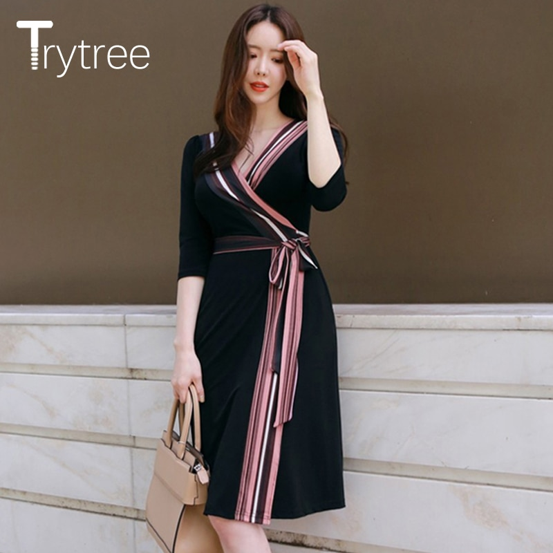 Trytree Summer Autumn Dress Women Casual 18 shirt Polyester Black A-Line Half Sleeve Dresses Black Chiffon dress kyliejenner 2