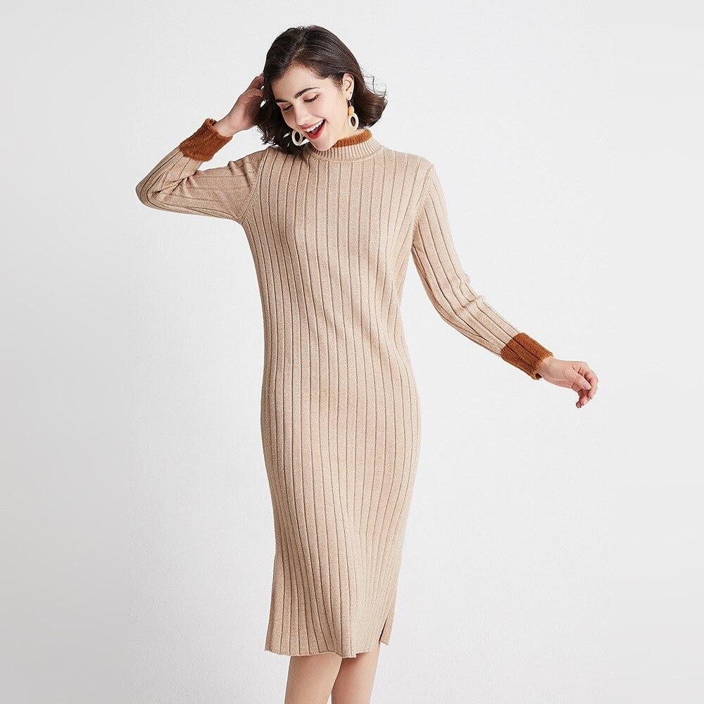 Autumn Winter Sweater Women Knitted Dresses Elegant Lady Half Turtleneck Long Sleeve Elastic Sweater Dress Female Slim Dress 2