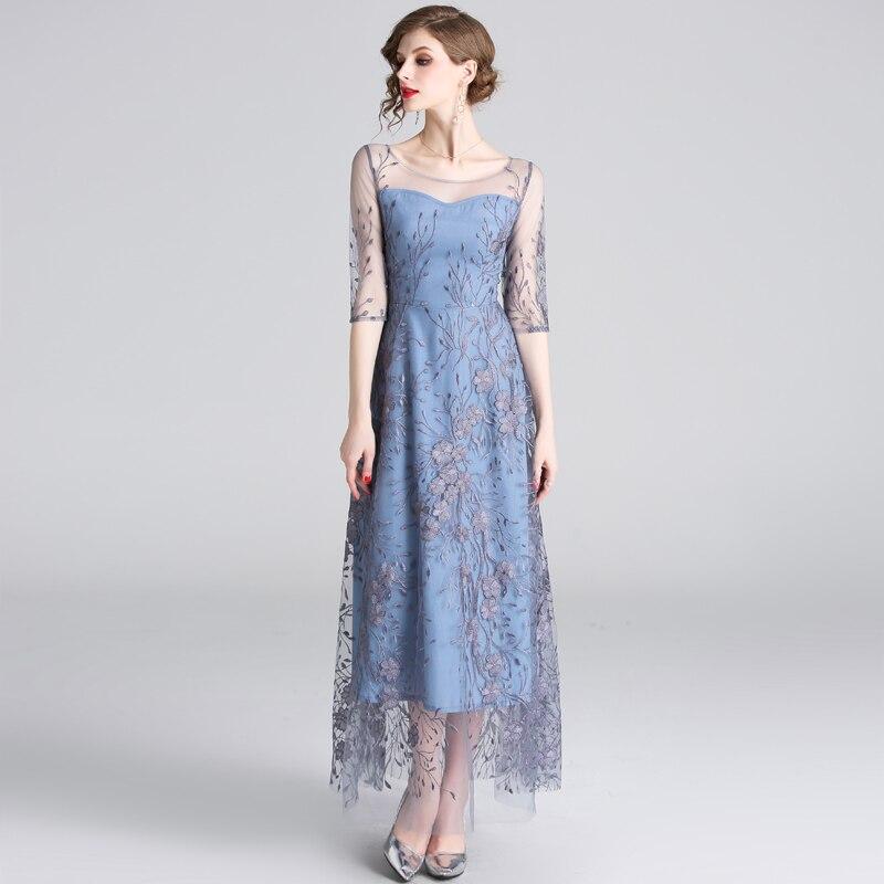 HAMALIEL Runway Noble Half Sleeve Women Tull Long Dress 19 Spring Mesh Embroidery Floral Dress Elegant Patchwork Slim Vestidos 2