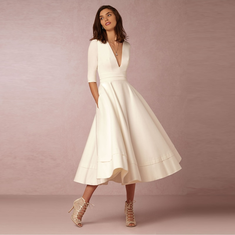 Elegant A-Line V Neck White Maxi Dresses Half Sleeves Simple Sexy Night Club Long Dress Solid Color Female Office Casual Dress 1