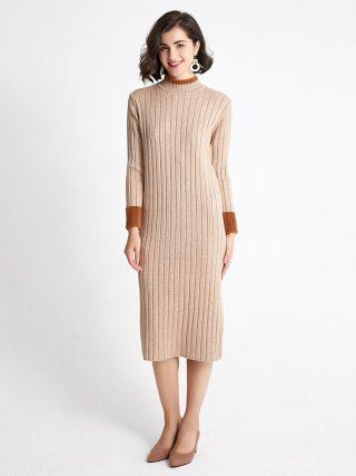Autumn Winter Sweater Women Knitted Dresses Elegant Lady Half Turtleneck Long Sleeve Elastic Sweater Dress Female Slim Dress