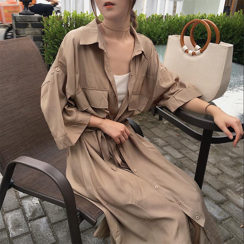 Women cardigan pocket half Sleeve Brown Dress Oversize Collar Buttons Long Shirt Dresses Women Casual Dress Robe Femme 1