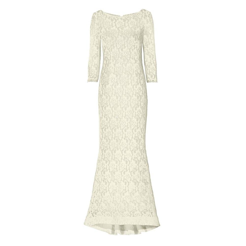 European Style O-neck Hollow Back Half Sleeves Mermaid Lap Lace Dress Evening Party Empire Waist Graceful Dress FS0646 3