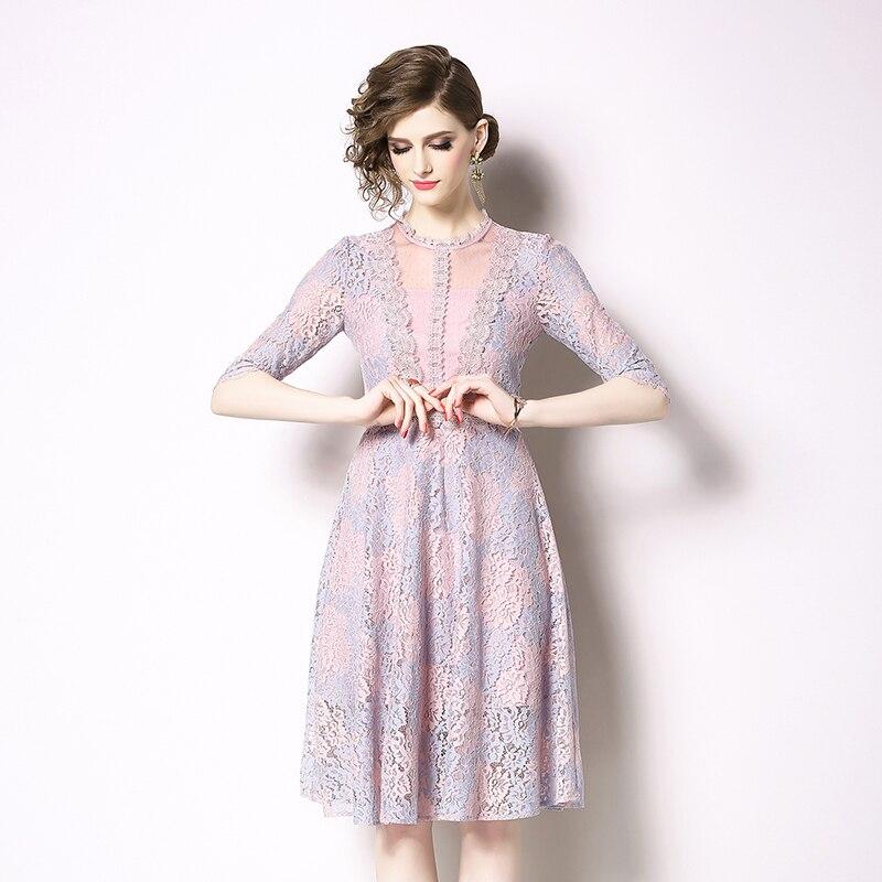 SMTHMA 19 New High-end Lace Dress Women Summer Half Sleeve Dresses Elegant Party Vestidos 2