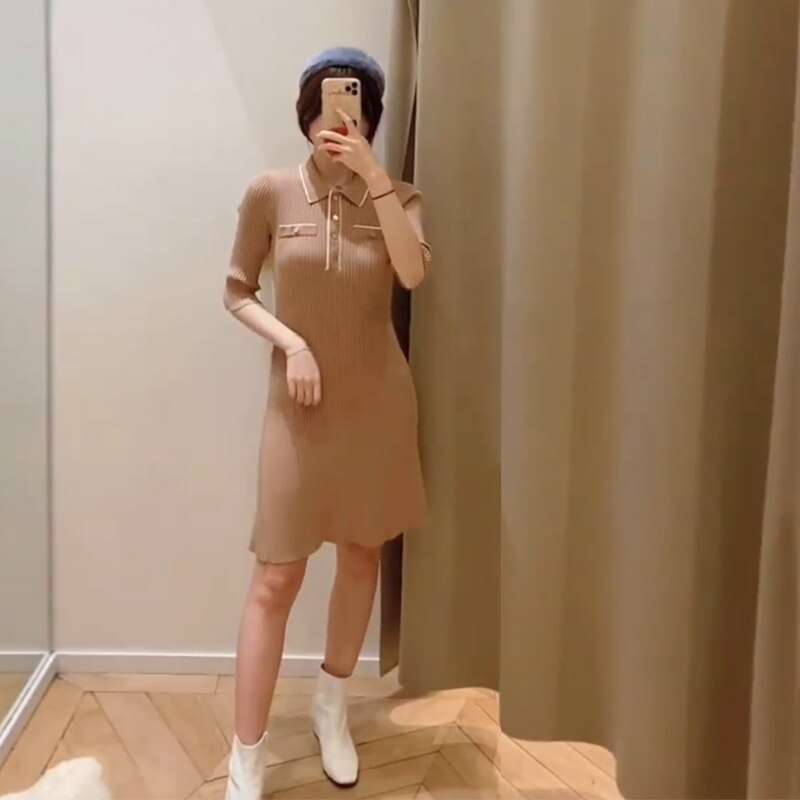 Women Knitted Dress Elastic Turn Down Collar Half Sleeve Sweet Patchwork Knitted Dresses