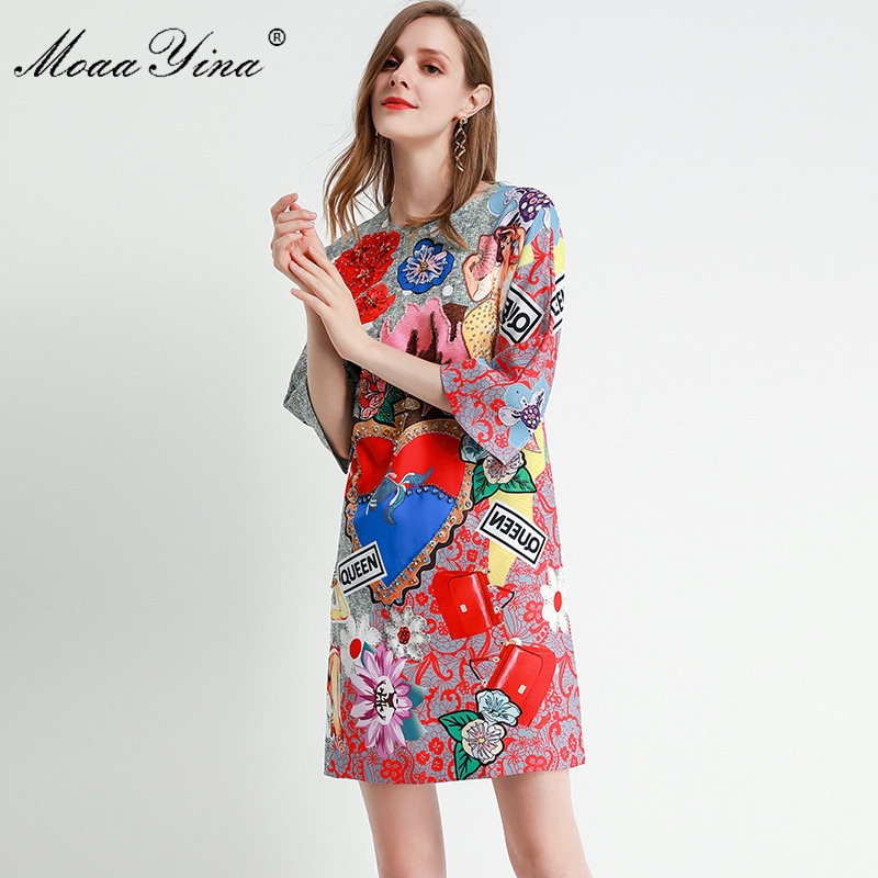 MoaaYina Fashion Designer dress Spring Summer Women's Dress Half sleeve Crystal Beading Floral-Print Dresses 3