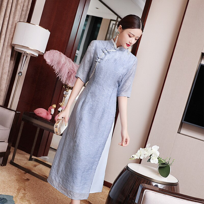 Vintage Long Dress Women Spring And Summer Chinese Traditional Cheongsam Stand Collar half sleeve Elegant Dress Plus Size S-2XL 3