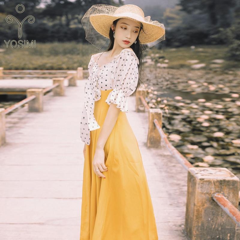 YOSIMI 19 Summer Slash Neck Off The Shoulder Long Women Dress Half Sleeve Party Dresses Print Dot Elegant Fake Set Mid-Calf 3