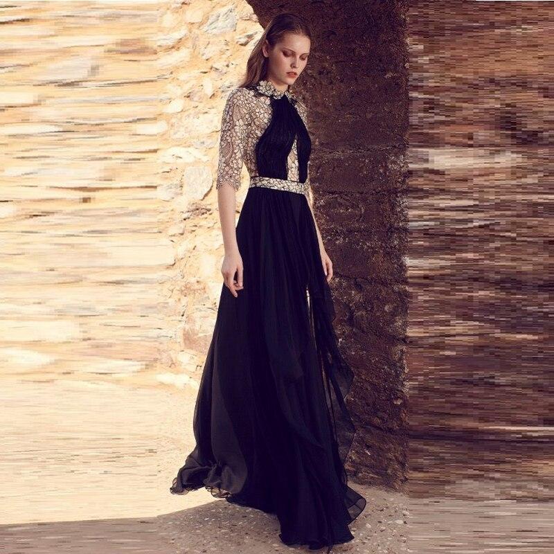 Elegant New Design Patchwork Half Sleeve Chiffon Maxi Dress Women Celebrity Party Dress Vestidos Wholesale 19