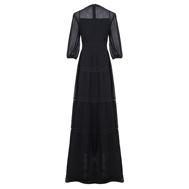 SEQINYY Chiffon Long Dress 19 Summer Spring New Fashion Design Half Sleeve Bow Lace Ruffles Elegant Maxi Dress Women 2