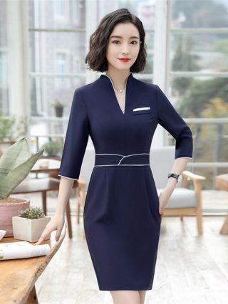 18 Summer Office Dresses For Women Elegant Business Half Sleeve Pencil Dress Ladies Casual Sretch Work Dresses D0176