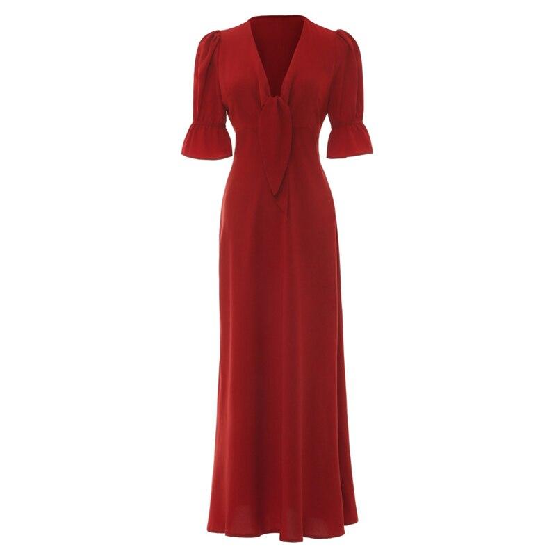 Vintage Ladies Red Dress Sexy Women Summer Autumn Half Sleeve Elegant Party Dresses 19 Sundress Female Festa Vestidos 3