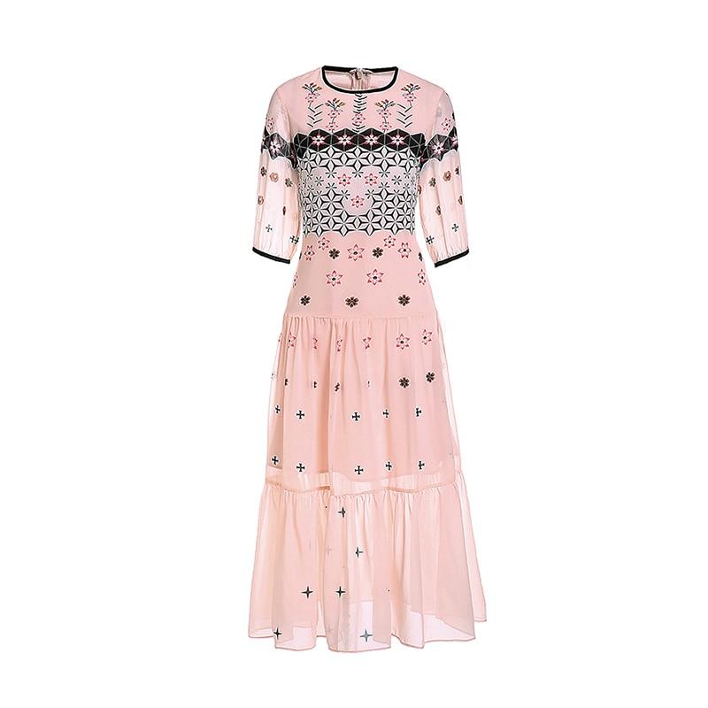 Women Summer Dress 19 High Quality Runway O-Neck Half Sleeve Print Elegant Dresses Vestidos NP0553M 2
