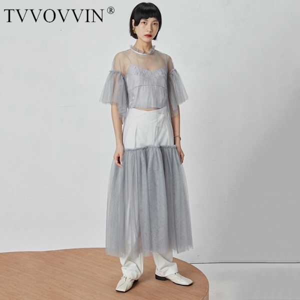 TVVOVVIN 19 New Spring Summer Round Neck Half Sleeve Mesh Perspective Bandage Spliced Loose Long Dress Women Fashion Tide D126