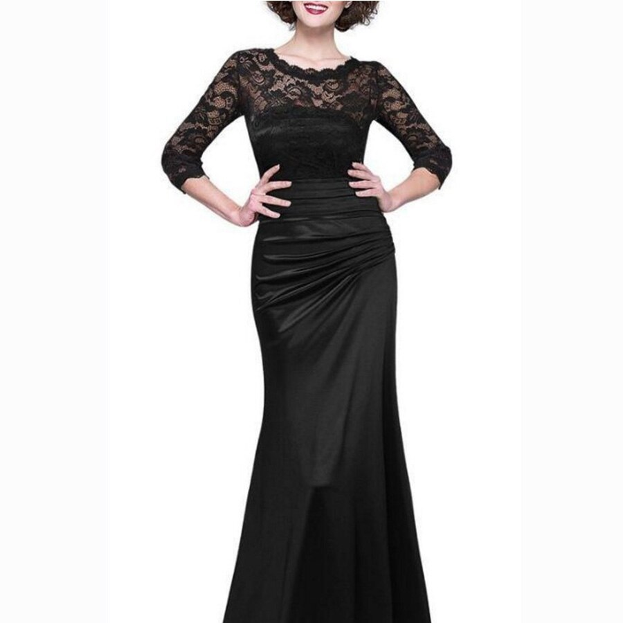 Dower Me Women Vestidos Half Sleeve Solid Lace A-Line Party Dress Y072 O-Neck Floor-Length Zipper Ruched Women Dress 2
