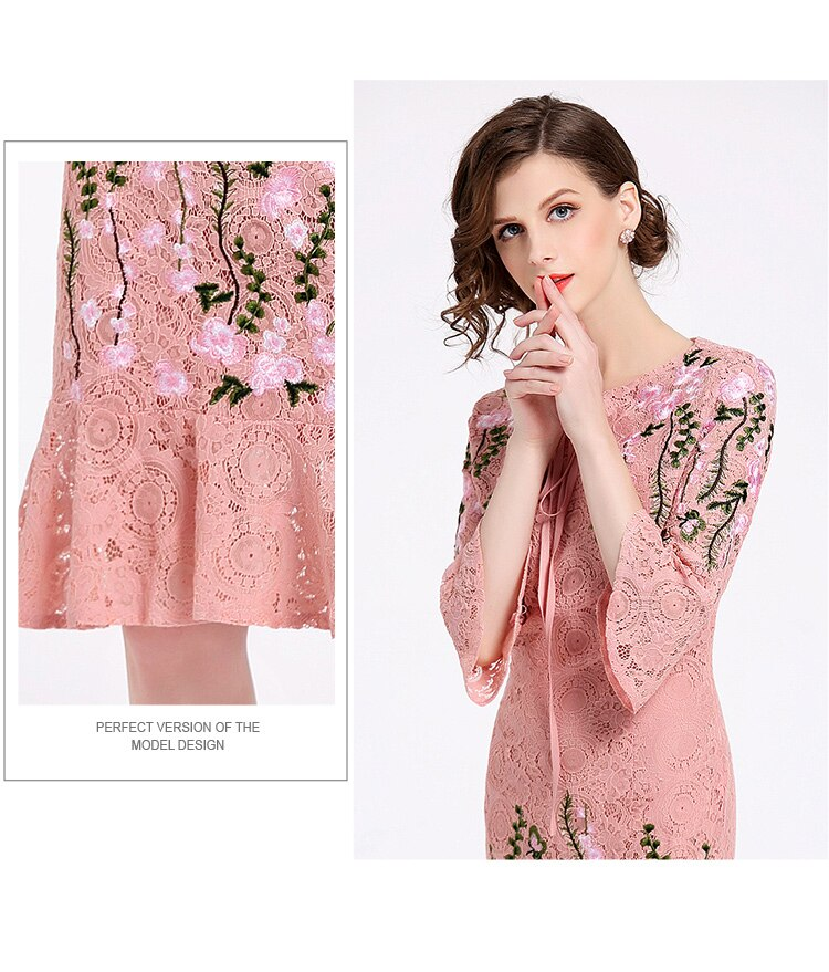 GORB 19 Newest Women Fashion Runway Lace Embroideried Pink Long Dress High Quality Flare Half Sleeve Slim Large Size Dresses 2