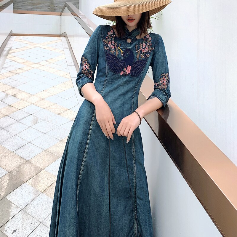 New Spring autumn Women half Sleeve Slim Denim Dress Summer Casual Female Vintage embroidery Dress Ladies Long Dresses 3