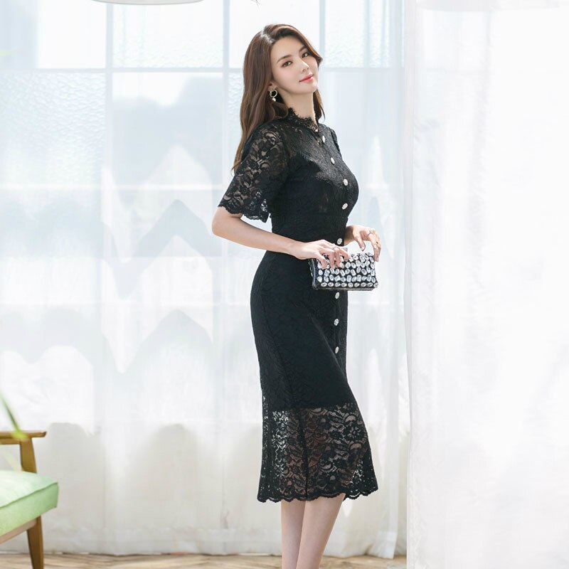 Big Size Black Evening Party Dress Women Half Sleeve Singer Button Wrap Lace Dress Women Sheath Vintage Dinner Dress for Women 1