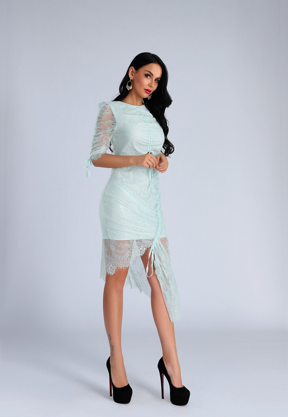 High Quality Light Blue O-Neck Half Lace Sleeve Bodycon Dress Fashion Party Elegant Dress 3