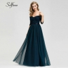 Elegant Long Women Dresses A-Line Solid Color Half Sleeve V-Neck Ladies Summer Maxi Dresses 19 Vestidos De Fiesta De Noche