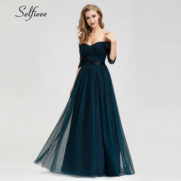 Elegant Long Women Dresses A-Line Solid Color Half Sleeve V-Neck Ladies Summer Maxi Dresses 19 Vestidos De Fiesta De Noche