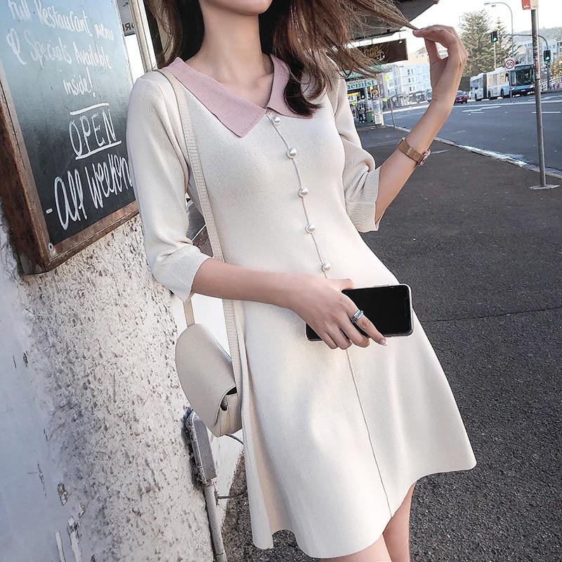Mishow 19 Autumn Women's Knitted Dress Korean Solid Sweety Slim Fit Half Sleeve Mid-length Dresses Elegant Vestidos MX19C1308 2