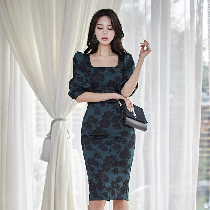 Spring  Korean Fashion Slim Leaf Print Square Collar High Waist Midi Dress Elegant Half sleeve Dress Women Party Vestidos 3