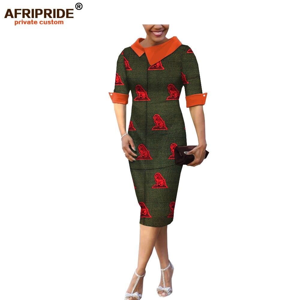 18 summer&autumn casual women pencil dress african wax print AFRIPRIDE tailor made half sleeve mid-calf length dress A1825055 3