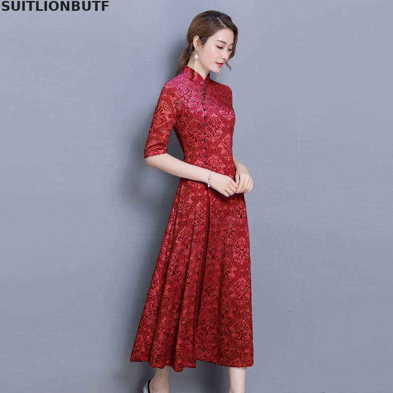 3xl Floral Cheongsam Dress Chinese Style Half Sleeve Retro Dress 19 Spring Autumn Slim Female Sheer Dress Vintage Women Dress 2